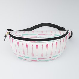 Trendy pink teal watercolor arrows pattern Fanny Pack