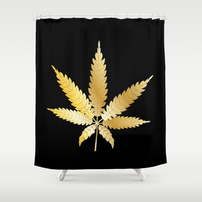 Gold Cannabis Leaf Shower Curtain by homestead | Society6