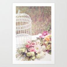 Birdcage & Flowers Art Print