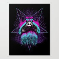 three of the possessed Canvas Prints featuring Possessed Panda by Pigboom Art
