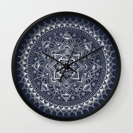 White Flower Mandala on Dark Blue Wall Clock