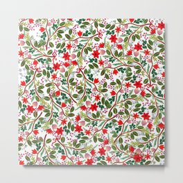 Christmas Floral Pattern Metal Print