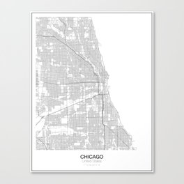 Chicago, United States Minimalist Map Canvas Print