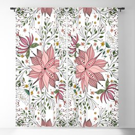 Cute Vintage Pink Floral Doodles Tile Art Blackout Curtain
