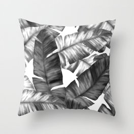Black And White Tropical Banana Leaves Pattern Throw Pillow