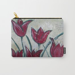 Red Tulips half of the Garden Screen Art Carry-All Pouch