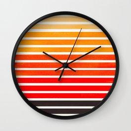 Orange Mid Century Modern Minimalist Scandinavian Colorful Stripes Round Circle Frame Wall Clock