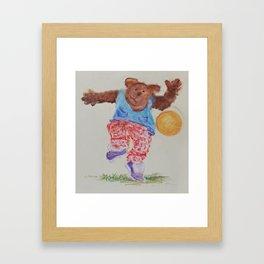 Teddy bear with the ball Framed Art Print