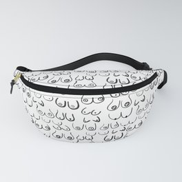 Boobs Pattern - black and white line drawing, life drawing, feminine art Fanny Pack
