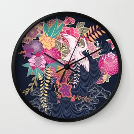 Japanese style crane and flowers on navy blue Wall Clock