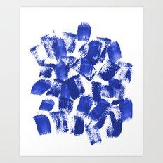 Azia - bright blue painterly abstract brushstrokes painting trendy minimal modern monochrome indigo Art Print