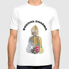 Buddha White MEDIUM Mens Fitted Tee