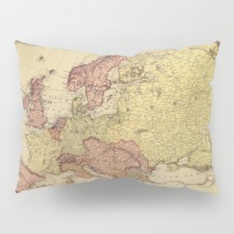 Vintage map of Europe in muted colors Pillow Sham
