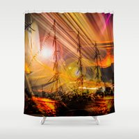 ships Shower Curtains featuring Sailing ships sunset by Walter Zettl