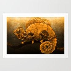 Steampunk Chameleon Art Print