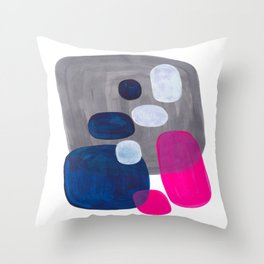 Mid Century Modern Minimalist Colorful Pop Art Grey Navy Blue Neon Pink Color Blobs Ovals Throw Pillow