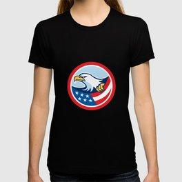 American Bald Eagle Clutching Flag Circle Retro T-shirt