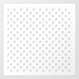 Black umbrellas on white pattern Art Print