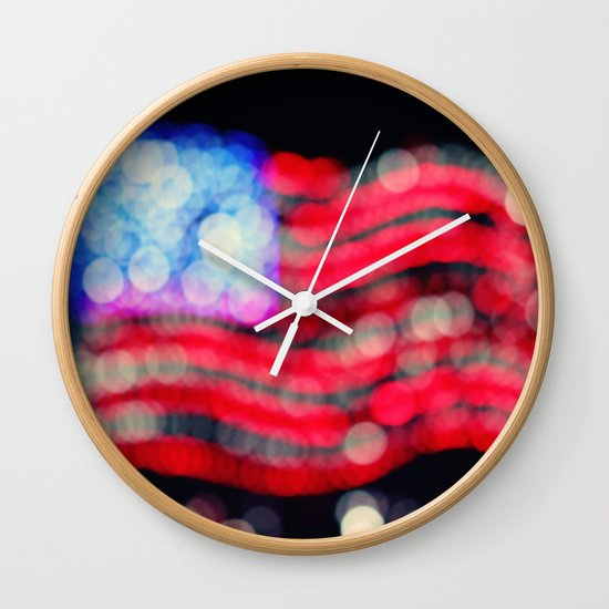 Red, White, and Bokeh Wall Clock