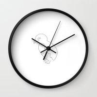 one line Wall Clocks featuring One Line by Juliana Kroscen