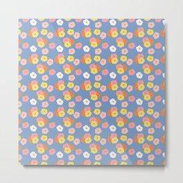 Doodle Florals on a Blue Background Metal Print