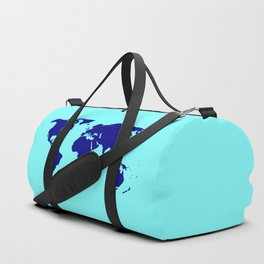 World Silhouette In Blue Duffle Bag