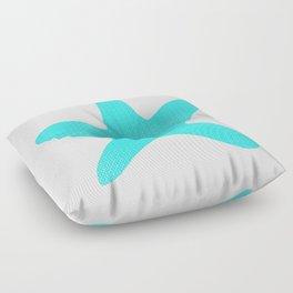 Aqua Starfish on Pale Yellow Floor Pillow