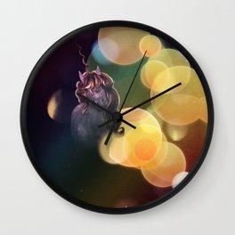 Unicorn portrait with yellow bokeh Wall Clock