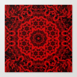 Vibrant red and black wattle mandala Canvas Print