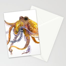 Octopus, orange red gold underwater scene octopus lover design, beach Stationery Cards