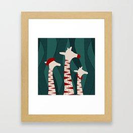 Giraffes Family Holiday Design Framed Art Print