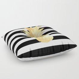 Gold Pineapple Black and White Stripes Floor Pillow