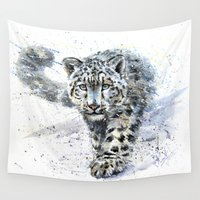 snow leopard Wall Tapestries featuring snow leopard by KOSTART