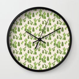 Doodle green cacti pattern Wall Clock