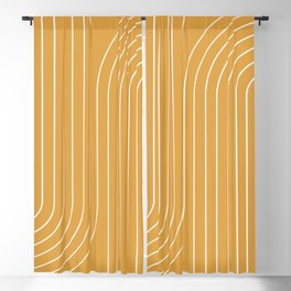 Minimal Line Curvature - Golden Yellow Blackout Curtain
