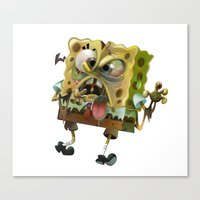 spongebob Canvas Prints featuring SpongeBob SquarePants by Tayfun Sezer