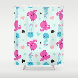 Sea Animals, Octopuses, Jellyfishes, Hearts, Stars Shower Curtain
