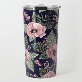 Pink, Green & Navy Blue Floral/Botanical Pattern Travel Mug