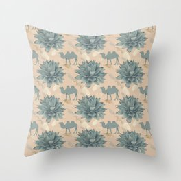 Blue agave and a camel Throw Pillow