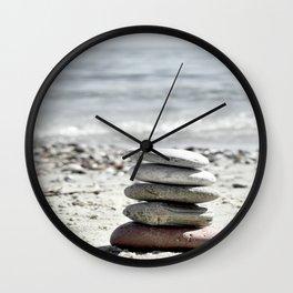 Balancing Stones On The Beach Wall Clock