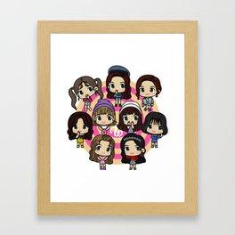 Twice 9 Members All Chibi - Kpop Girlband Korea Framed Art Print