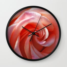 Spiral Pink Rose Flower Close up Wall Clock