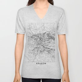 Krakow White Map Unisex V-Neck