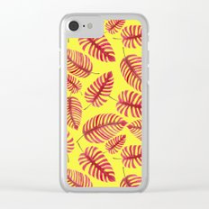 Monstera leaves, tropical watercolor pattern Clear iPhone Case