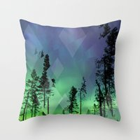 northern lights Throw Pillows featuring Northern Lights by Ricca Design Co.