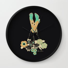 Love Stoned Cowboy Boots - Emerald, Cream, Black Wall Clock