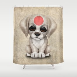 Cute Puppy Dog with flag of Japan Shower Curtain