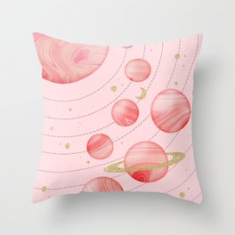 The Pink Solar System Throw Pillow