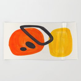 Colorful Mid Century Modern Abstract Fun Shapes Patterns Space Age Orange Yellow Orbit Bubbles Beach Towel
