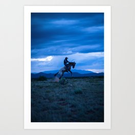 Santa Fe Cowboy Being Bucked Off Art Print